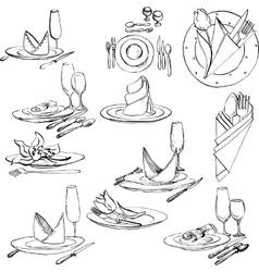 hand drawn set of tableware vector image
