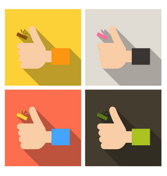 Hand holding coin throws up icon in flat style vector