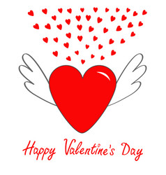 happy valentines day red heart with wings cute vector image