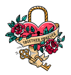 heart shaped lock tattoo heart under lock and key vector image