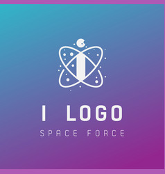 I initial space force logo design galaxy rocket vector