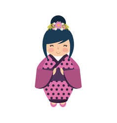Japanese girl icon vector