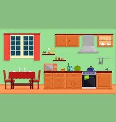 Kitchen room interior for family home vector