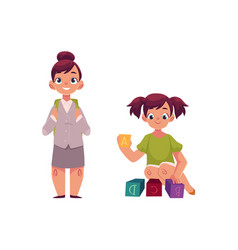 Little girl going to school playing with blocks vector