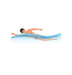 Male athlete swimming water sport activity vector
