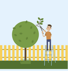 man in the garden cuts wood vector image