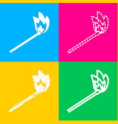 match sign four styles of icon on vector image