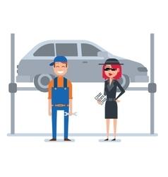 Mystery shopper woman in spy coat checks car vector