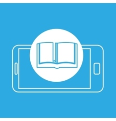 Open book mobile device education vector