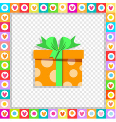 orange gift box wrapped with festive ribbon vector image