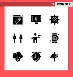Pack 9 creative solid glyphs murderer vector