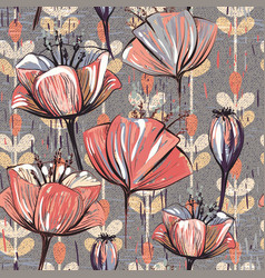 Pattern with decorative flowers vector