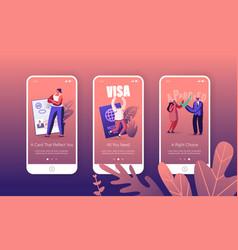 People getting visa mobile app page onboard screen vector