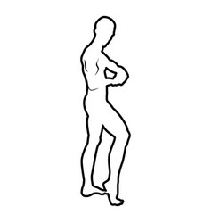 posing bodybuilder silhouette bodybuilding vector image