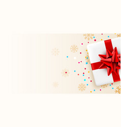 present white box with red ribbon holiday card vector image
