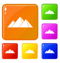 Pyramids in giza icons set color vector