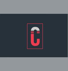 Red grey logo c alphabet letter design icon for vector