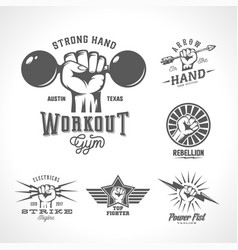 retro fists logo templates set different vector image
