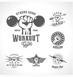 Retro fists logo templates set different vector