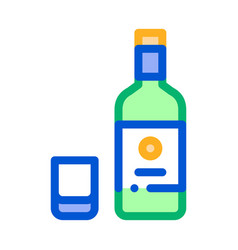 sake bottle cup icon outline vector image