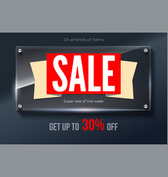 sales banner on glass background and text design vector image