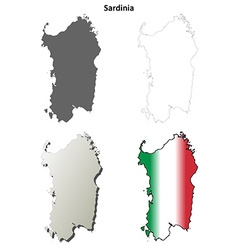 Sardinia blank detailed outline map set vector image