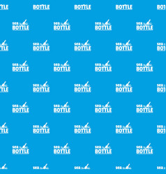 sea bottle pattern seamless blue vector image