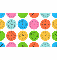 Seamless pattern with colorful round wall clock vector