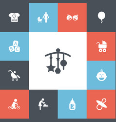 Set 13 editable infant icons includes symbols vector