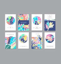 Set of creative universal floral cards in trendy vector