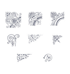 set of decorative corner ornaments vector image