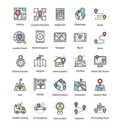 Set of map and navigation flat icons vector