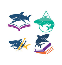 shark book technology water logo design set vector image
