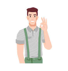 smiling man showing okay gesture approval sign vector image