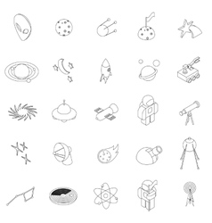 Space icons set isometric 3d style vector