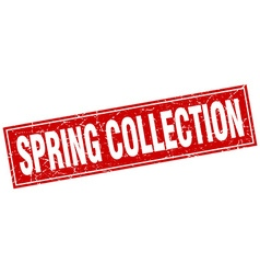 spring collection red square grunge stamp on white vector image