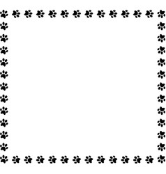 Square frame made of black animal paw prints on vector