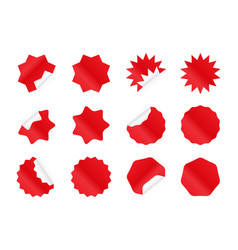 Starburst sticker set blank red sunburst badges vector