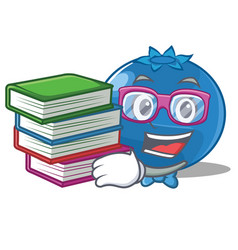 Student with book blueberry character cartoon vector