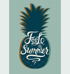 summer calligraphic poster with pineapple vector image