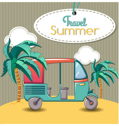 summer thai travel concept banner cartoon style vector image