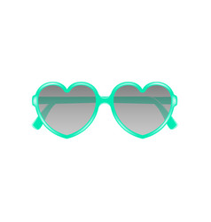 Sun glasses in shape of heart in cyan design vector