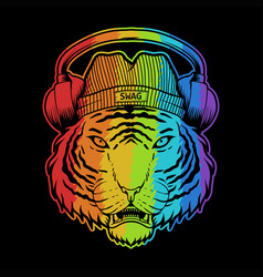 tiger headphone colorful vector image