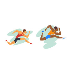 track and field athletes in action set male vector image