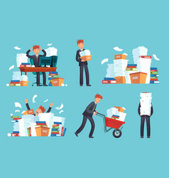 Unorganized office papers businessman overwhelmed vector
