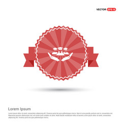 User in hand icon - red ribbon banner vector