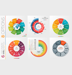 collection of 6 circle chart templates 8 vector image vector image