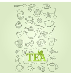 Hand drawn green tea doodle concept vector image vector image