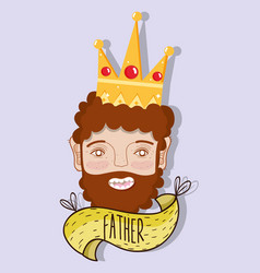 happy father with crown and beard vector image vector image