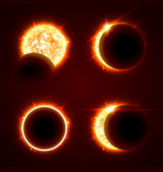 Incomplete and total solar eclipseon on a black vector
